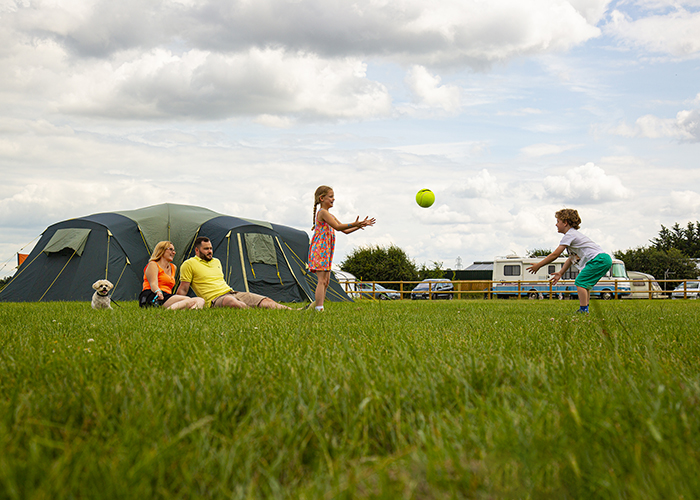 Family With Tents at Barleylands Campsite in Billericay Essex
